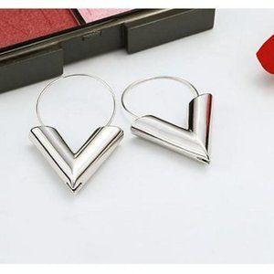 Silver V Earrings